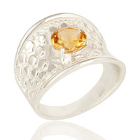 Natural Citrine Gemstone 925 Sterling Silver Dome Ring