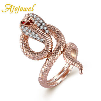 Ajojewel Rose Gold CZ Diamond Snake Ring For Women Brand Animal Designer Cobra Bijoux