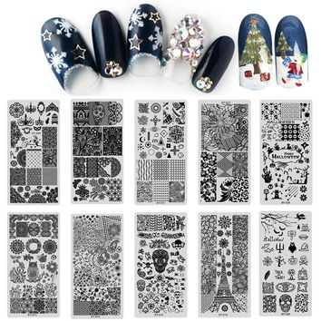 20pcs Halloween/Christmas/Lace Flower Pattern Nail Stamping Plates Nail Art Stamp Template Manicure Stencil Nail Tool LAXYS01-20