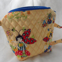 LADY BUG HUGS Bizzzee Bag for little girls/100 Percent Cotton Fabrics/Long Handle to carry or to fit little shoulders/Quilted n Large Zipper