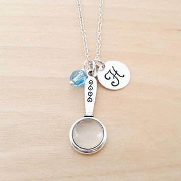 Magnifying Glass Necklace - Birthstone Necklace - Personalized Gift - Initial Necklace - Sterling Silver Jewelry - Gift for Her