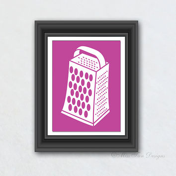 Wall Hanging, Cheese Grater, Kitchen Art, Solid Color, Chevron Pattern, Kitchen Decor, Your Choice of Any Background
