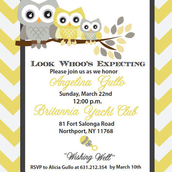 Yellow and Grey Chevron Baby Shower Owl Invitation Design