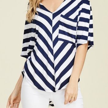 Beyond the Sea Navy Striped Pocket Tee