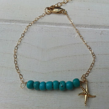 Turquoise Beaded Goldfilled Bracelet - Starfish Jewelry, gemstone Bracelet, gem bar,birthstone, Delicate Bracelet, Birthday, Christmas, By