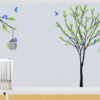 Nature Colorful Vinyl Wall sticker with Tree,  Birds and Leaves, Decor for Baby or Living room, Removable Art Decal DIY! Free shipping!
