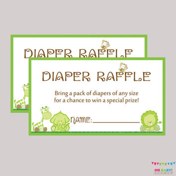 Diaper Raffle Ticket Cards and Sign Safari Baby Shower Diaper Raffle Sign Printable Instant Download - Green Safari Raffle Tickets  BS0001-G