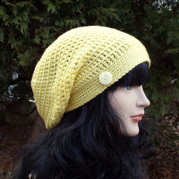 Yellow Slouch Beanie - Womens Slouchy Crochet Hat - Ladies Oversized Cap with Button - Hipster Hat - Baggy Beanie