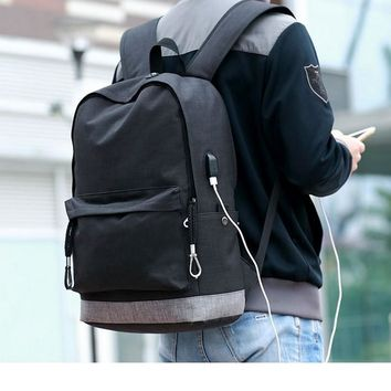 canvas backpack for teens Casual Back Pack USB High school bags for Teenagers Boys Schoolbag black Large Capacity male Bagpack