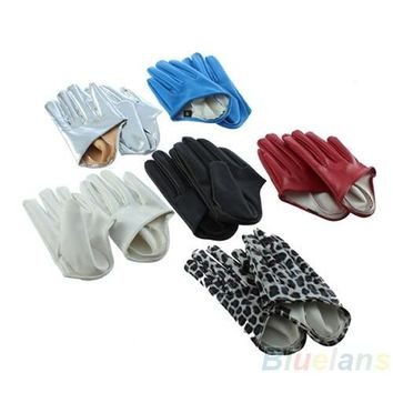 Hot Sexy and The City Faux Leather Women's Five Finger Half Palm Gloves 5 Colors Leopard 02AJ 4N4A 7FO2