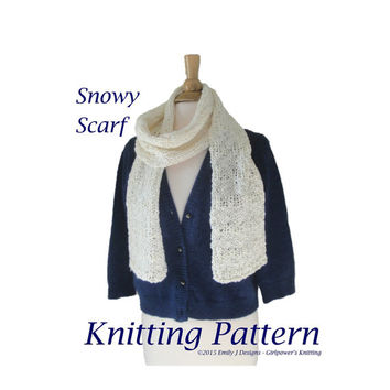 Snowy Scarf Knitting Pattern, Chunky Scarf Pattern, Quick Knit, Beginner, Fun & Fashion