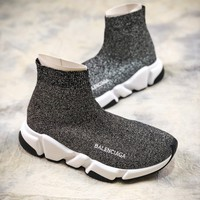 Balenciaga Speed Stretch Knit Mid Sneakers Grey Socks Shoes - Best Online Sale