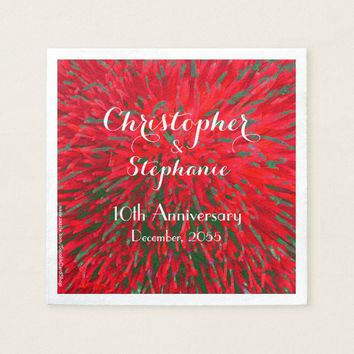 Red Green Christmas Wedding Anniversary Party Paper Napkin