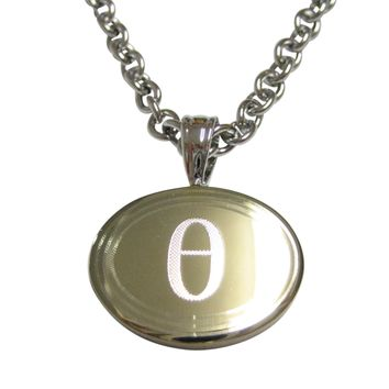Gold Toned Etched Oval Greek Letter Theta Pendant Necklace
