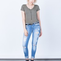 Lightly Destroyed Light Blue Skinny Jeans