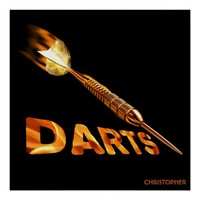 Darts With Golden Dart In Flames With Stylish Text Poster