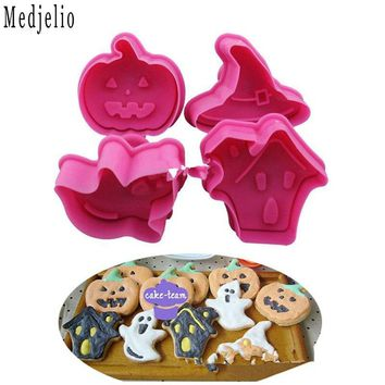 Pumpkin Lights Witch Cap Etc Shape Halloween Series Cookie Chocolate Candy DIY Plunger Cutter Mold Tools Baking Mould