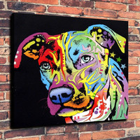 Angel Pit Bull Dean Russo 3 Print Oil Painting on Canvas Wall Art Picture Home Decoration ( No Framed )