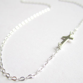 Sideways Cross Necklace in Sterling Silver, Tiny Dainty Everyday Necklace