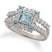 Blue Topaz and CZ's Ring