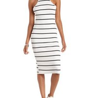 Ivory Combo Ribbed & Striped Turtleneck Midi Dress by Charlotte Russe