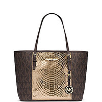 MICHAEL Michael Kors Signature Jet Set Travel Small Tote - Brown/Gold/