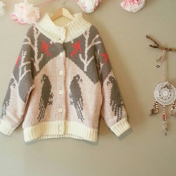 Birdwatcher, Vintage Sweater Coat, Gift for her, Bohemian Style, Granny Coat, Small, Boho Chic, Gypsy, Vintage Clothing, Kitsch Coat, Knit