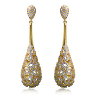 Women Earring long Drop Earrings gold plated with CZ stone Classic style fashion jewelry High quality Free shipment