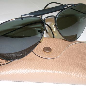 1960s 58mm BAUSCH & LOMB RAY BAN BLACK G15 GLASS OUTDOORSMAN AVIATOR SUNGLASSES