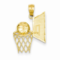 14 Yellow Gold Basketball and Net Charm Pendant