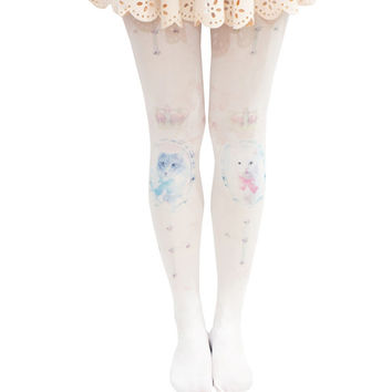 Lolita Cats Cross Print Tights