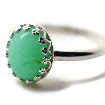 Natural Gemstone Ring, Oval Chrysoprase Ring, Handforged Silver Ring, Green Cocktail Ring, Artisan Gemstone Ring