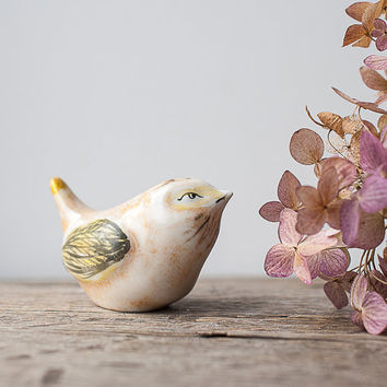 Vintage Bird Figurine - Yellow Bird, Spring Bird, Woodland Home Decor