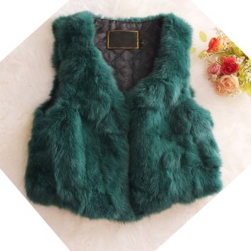 Big Plus Size XXL Candy Solid V Neck Slim Ladies Faux Fur Waistcoat Sleeveless Short Jacket Outfit Coats Warm Fashion Tank Vest