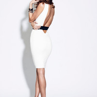 VANESSA Backless Cut Out Shift Dress - Midi Length, Available in Black, White, and Blush