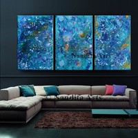 BLUE ABSTRACT PAINTING, Large Modern Wall Art Decor Original Painting Multi color Canvas Art, Gift, Contemporary Art - Nandita Albright