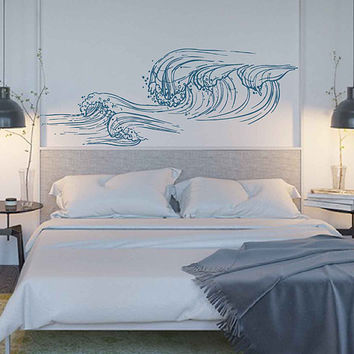 wave Wall Decals Ocean Wave Wall Decals Ocean beach Waves Wall Stickers Ocean Wall Decals sea Wall Decal Stickers for Bedrooms kik3415