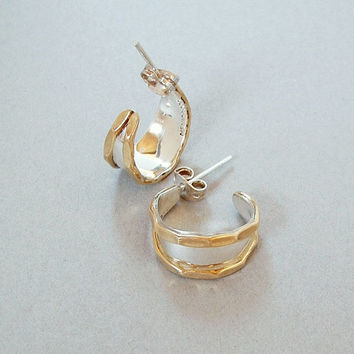 Vintage MEXICAN Sterling Silver HOOP Earrings Earring Hoops GOLD Accents Hallmarks c.1970's