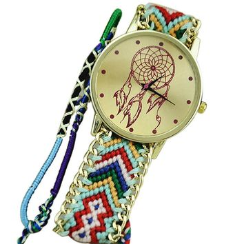 Multicolored Dream Catcher Friendship Bracelet Watch