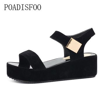 Woman Sandals 2017 Summer Women Concise Platform Open Toe Casual Shoes Woman Fashion Thick Bottom Wedges Sandals.HYKL-K8
