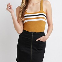 Striped Ribbed Bodysuit | Charlotte Russe