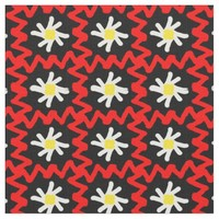 Red Zigzag and Daisy Pattern Fabric