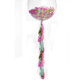 "Giant Balloon with Tassel and Confetti Custom Colors 36"" Balloon with 6 Foot Fringe"