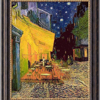 "0-015722>20x24"" Vincent Van Gogh Cafe Terrace At Night Framed Art Canvas Canvas"