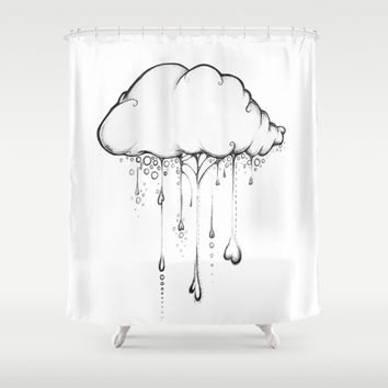 Happy Cloud Drawing, Cute Whimsical Illustration Shower Curtain by Olechka