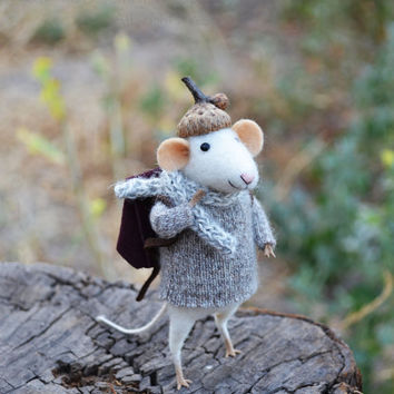 NEW Little Traveler Mouse- Original artwork designed and created by Johana Molina- by Felting Dreams