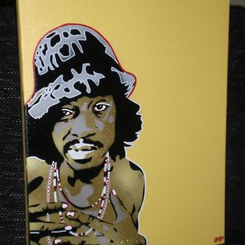 painting of andre 3000,stencils and spraypaints on canvas,outkast,hip hop,r&b,music,hats,home,living,europe,wall art,portrait,graffiti