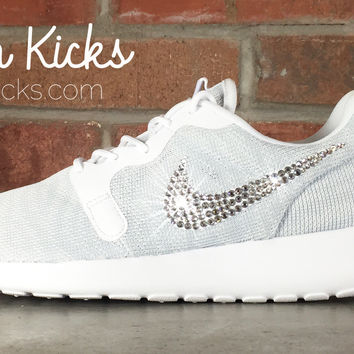 Women s Nike Roshe One Breeze Casual Shoes By Glitter Kicks - Customized  With Swarovsk 094ff65f2e