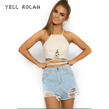 YELL ROLAN Women 2018 Summer Crop Top Female Fashion Lace Up Halter Tank Top Sexy Club Party Short Tops Solid Basic Beach Vest