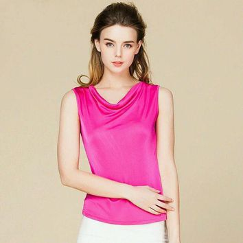 100% Pure Real Silk Sleeveless Women Solid Fashion Basic Shirt Draped Neck Barlet Femininas Tank Top Vest Light Colors New Tunic